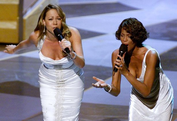 Whitney Houston and Mariah Carey sing the nominated song -When You Believe,- at the 71st Annual Academy Awards, March 1999